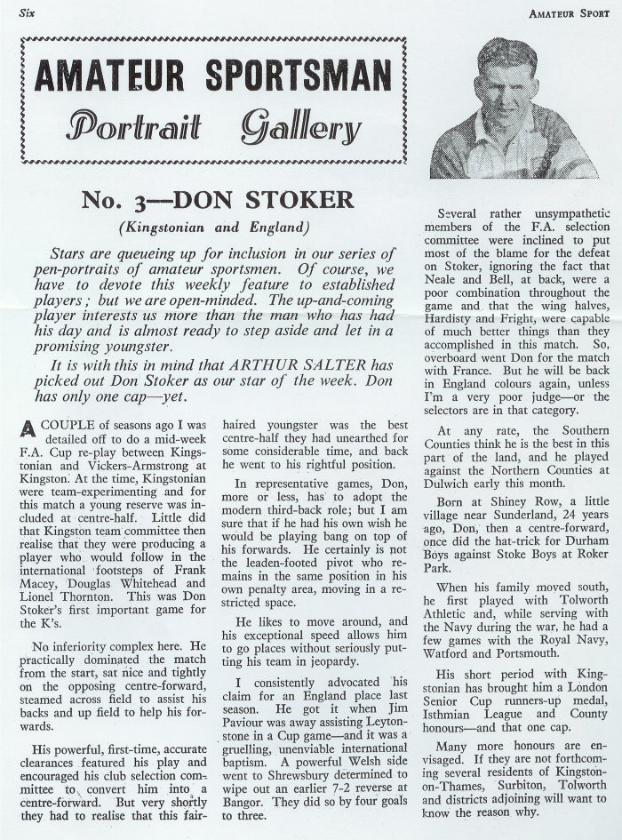 Don Stoker in Amateur Sport magazine